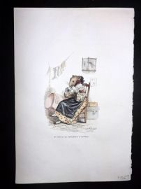 Grandville 1842 Hand Col Print. Knitting Mouse